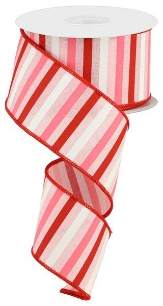 """2.5""""X10yd Horizontal Stripe On Royal Color: Pale Pink/Red/Pink/White"""