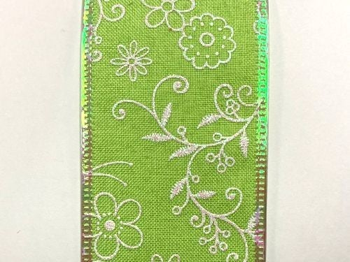 "LIME LINEN/WHT-IRID FLWRS-BEES, 2.5""X10Y"