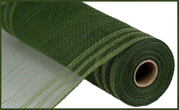 "10.5""X10yd Faux Jute/Pp/Border Stripe Moss Green"