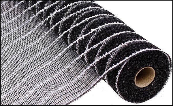 "21""X10yd Cotton Drift/Poly/Metallic Foil Black/White"