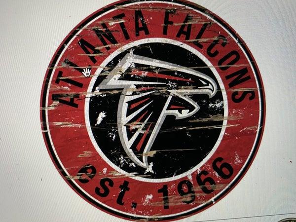 """12"""" Destressed Wooden NFL Circle Sign - Atlanta Falcons"""