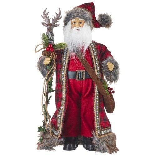 """Santas Stables 18"""" SANTA WITH REINDEER STAFF"""