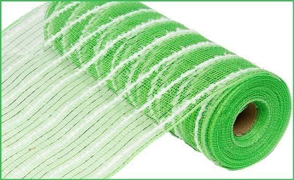 """10.5""""X10yd Metallic Cotton Drift Mesh Lime Green/White"""