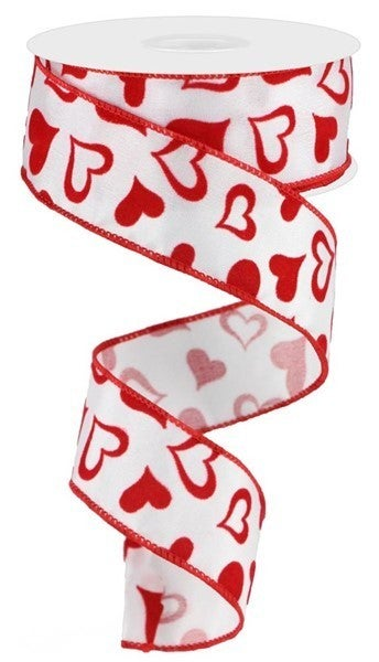 """1.5""""X10yd Red Hearts Color: White/Red"""