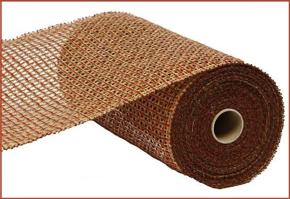 """10""""X10yd Poly Burlap Criss Cross Mesh Honey Brown/Red/Olive"""