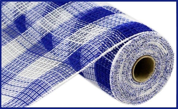 "10.5""X10yd  Fabric Mesh Faux Jute/Pp Small Check Royal Blue/White"