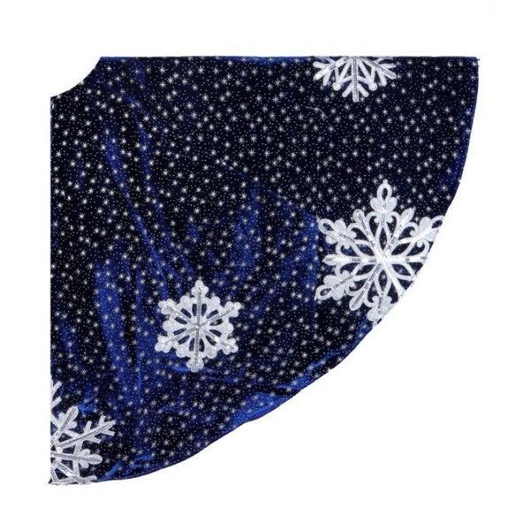 "64""D WINTERS NIGHT SNOWFLAKE VELVT TREE SKIRT (BLUE SILVER)"