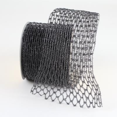 "METALLIC NET - 4""X10YD / BLACK"