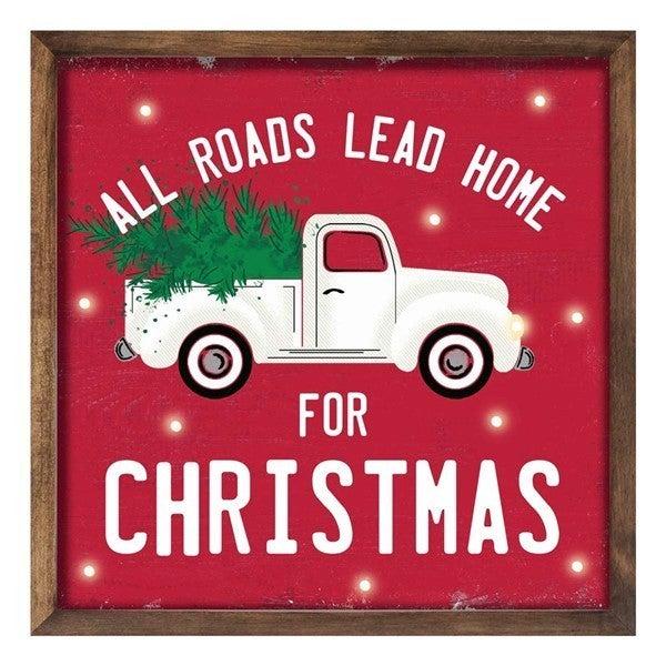 "10""Sq All Roads/Home/Christmas W/Lights"