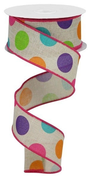 "1.5""X10yd Multi Polka Dots/Royal Color: Lt Nat/Prpl/Pk/Org/Lm/Trq"