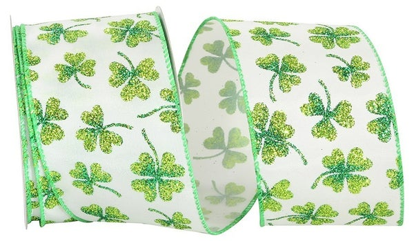 Glitter Shamrock Clover Wired Edge, White/green, 2-1/2 Inch, 10 Yards-WHITE/GREEN