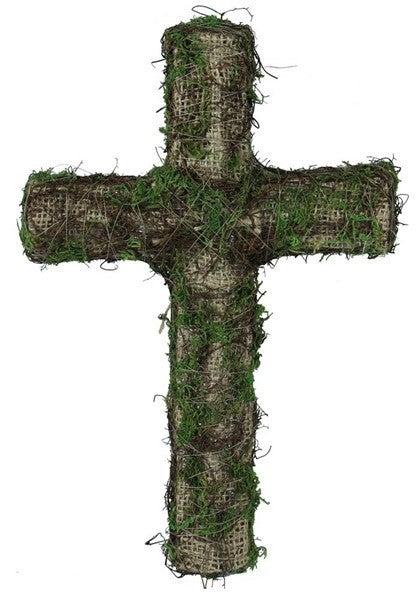 "11""H Burlap/Moss Cross W/Stake"