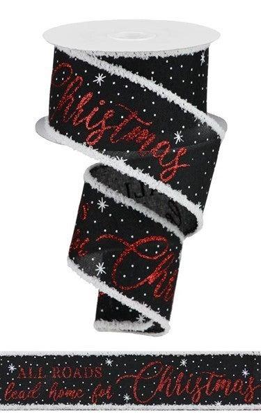 "2.5""X10yd Home For Christmas/Drift Black"