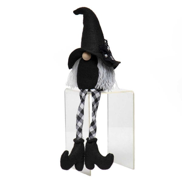 """WITCH GNOME WITH LACE & PEARL ACCENT, WHITE HAIR, WOOD NOSE & CHECKERED LEGS SMALL 4""""X14"""""""