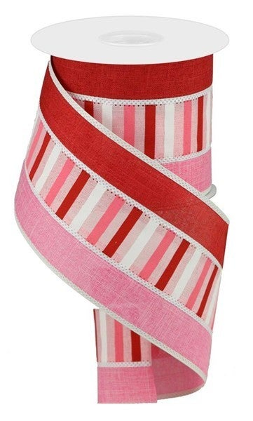 "4""X10yd 3 In 1 Horizontal Stripe Color: Pale Pink/Red/Pink/White"