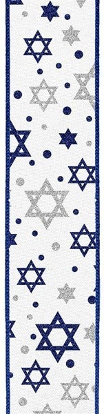 "1.5""X10yd Glitter Star Of David On Royal White/Royal Blue/Silver"