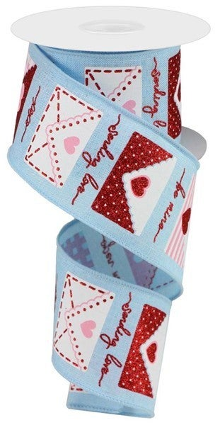 "2.5""X10yd Love Letters On Royal Pale Blue/White/Red/Pink"