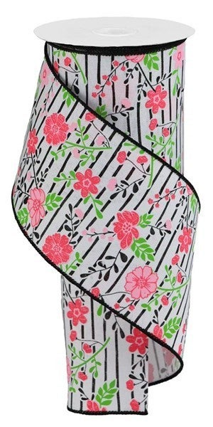 """4""""X10yd Floral Lines On Royal White/Multi Pink"""