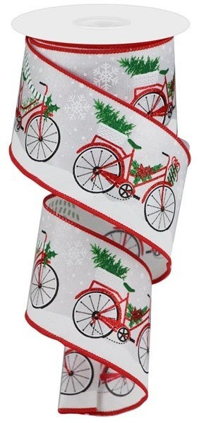 "2.5""X10yd Christmas Bicycle On Royal White"