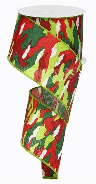 """2.5""""X10yd Camouflage On Royal Color: Lime/Red/Emerald/Ivory"""
