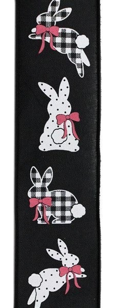 "2.5""X10yd Patterned Bunnies On Royal Black"