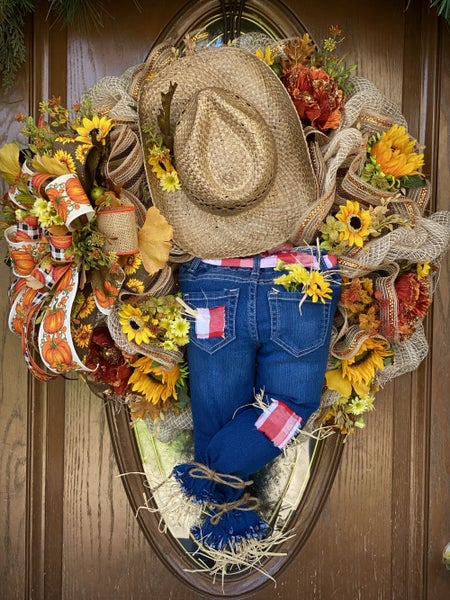 cowgirl scarecrow wreath