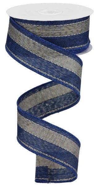 "1.5""X10yd Woven Royal Burlap Stripe Blue Grey"
