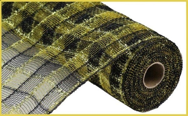 "10.5""X10yd Tinsel/Pp/Faux Jute Check Black/Gold"