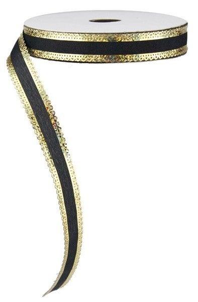"5/8""X25yd Scallop Metallic Edge Sheer Black/Laser Gold"