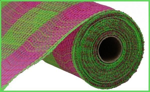 "10.5""X10yd Fabric Mesh Faux Jute/Pp Large Check Hot Pink/Fresh Green"
