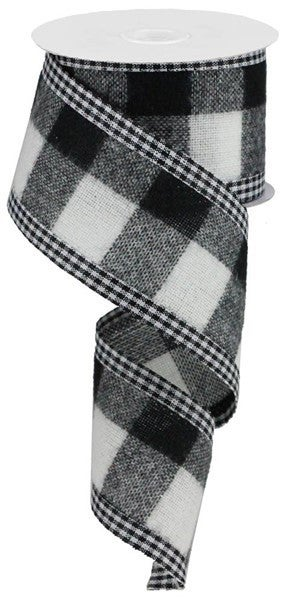 """2.5""""X10yd Woven Fuzzy Large Check Color: Black/White"""