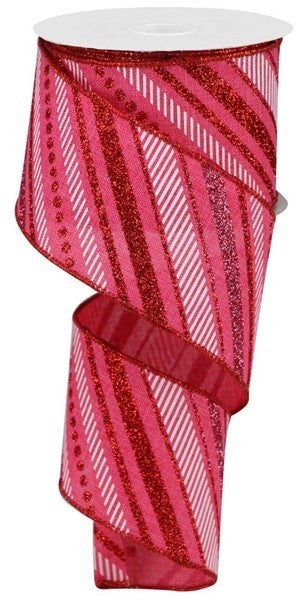 "2.5""X10yd Multi Diagonal Stripes/Royal Color: Hot Pink/Red/Pink/White"