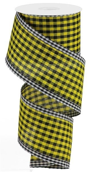 "2.5""X10yd Gingham Check/Edge Yellow/Black/White"