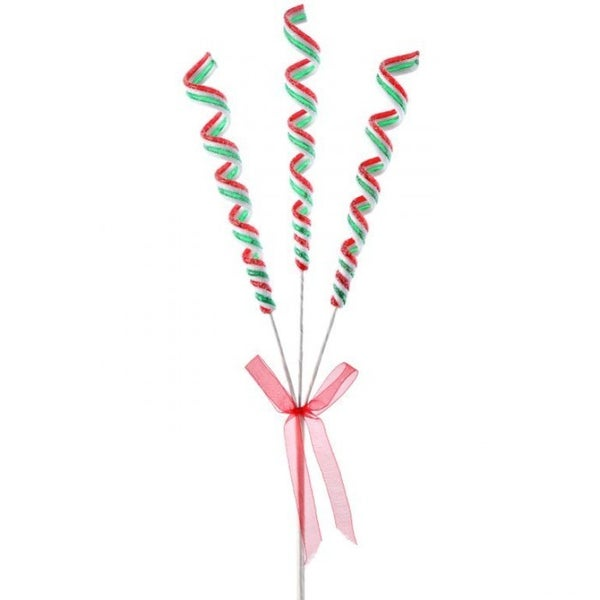 """16"""" SUGARED RIBBON CANDY X3 SPRAY Red/Green/White"""