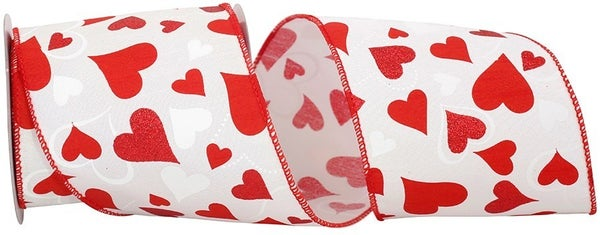 Dupioni Heart Tales Glitter Wired Edge, White/red, 4 Inch, 10 Yards-WHITE/RED