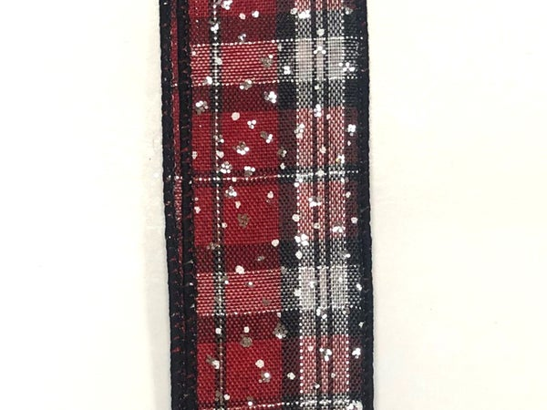 "Black/Red/Silver Metallic Plaid/Silver Glitter 1.5""x10yd"