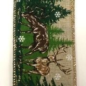 "Light Natural Linen/Deer in the woods 2.5""x10yd"