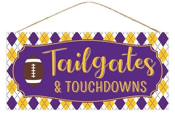 """12.5""""L X 6""""H Tailgates/Touchdowns Sign Purple"""