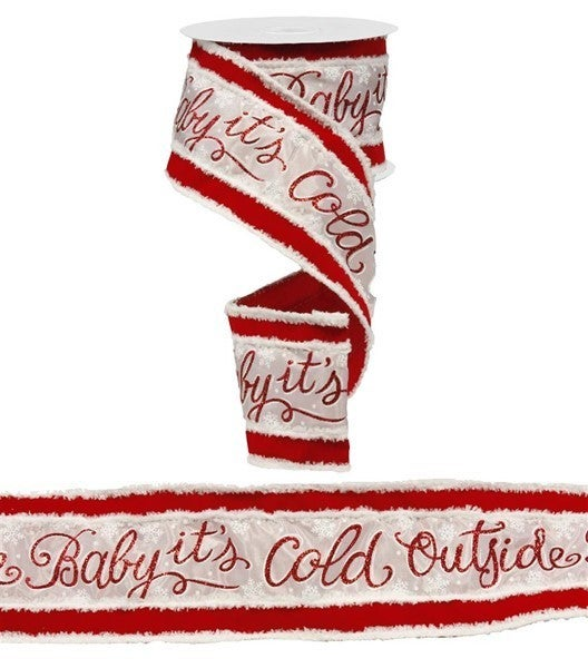 """4""""X10yd 2 In 1 Baby/Cold Outside/Snwdrft White/Red"""