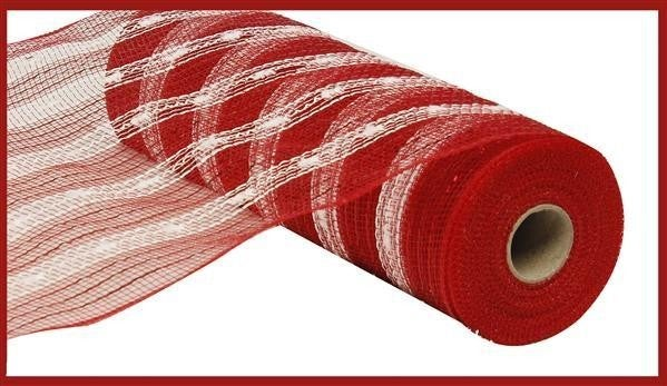 "10.5""X10yd Poly/Foil Snowball Mesh  Red/White"