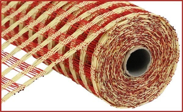 "21""X10YD POLY BURLAP CHECK MESH Beige/Red"