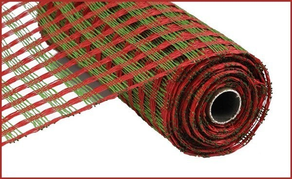 "21""X10yd Poly Burlap Check Mesh Red/Lime Green"