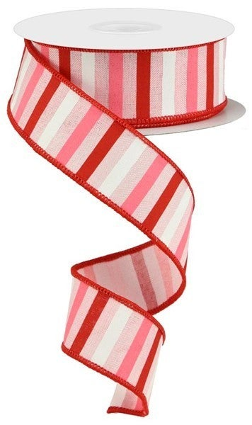 """1.5""""X10yd Horizontal Stripe On Royal Color: Pale Pink/Red/Pink/White"""