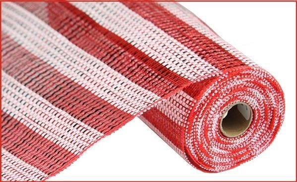 "10""X10yd Horizontal Stripe Foil/Mesh Red/White"