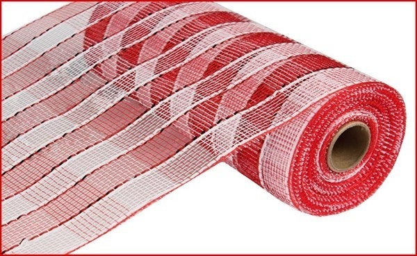 "10.25""X10YD WIDE FOIL PLAID MESH Color: Red/White"