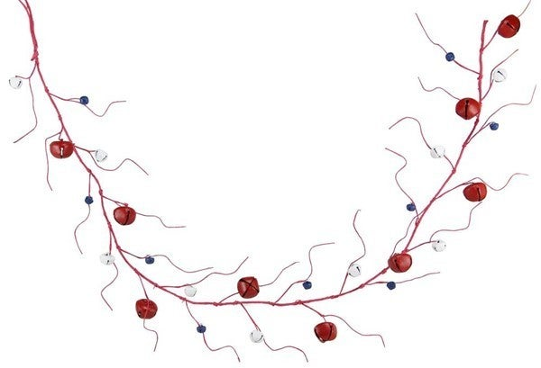 "60""L Jingle Bell/Curly Twig Garland Color: Red/White/Blue"