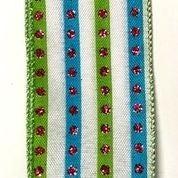 "White Linen/Turq-Fu Silver Stud Stripes 2.5""x10yd"