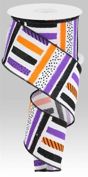 "2.5""X10yd Brush Stroke Stripes/Faux Ryl Color: White/Black/Org/Ppl"