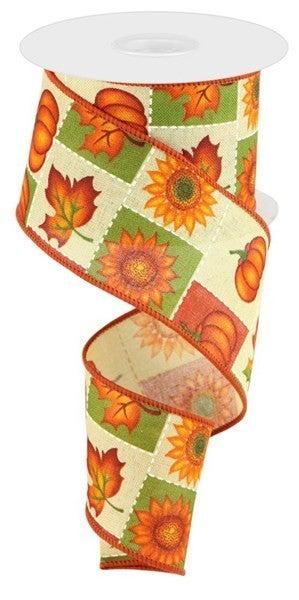 "2.5""X10yd Pumpkin/Sunflower/Maple Leaf Color: Tobacco/Multi"