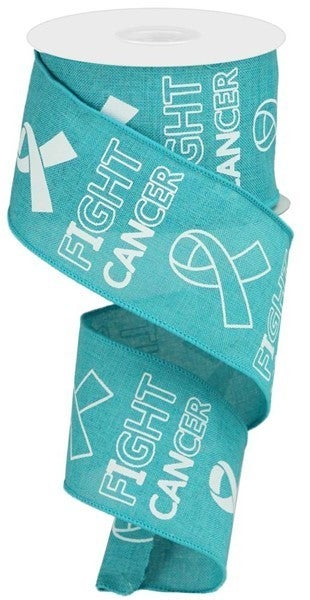 """2.5""""X10yd Fight Cancer On Royal Color: Lt Teal/White"""